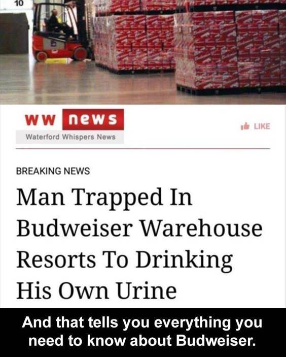 """Top 56 Hilarious Funny Memes Of All Time Where To Get Funny Memes """"Man trapped in Budweiser warehouse resorts to drinking his own urine and that tells you everything you need to know about Budweiser."""""""