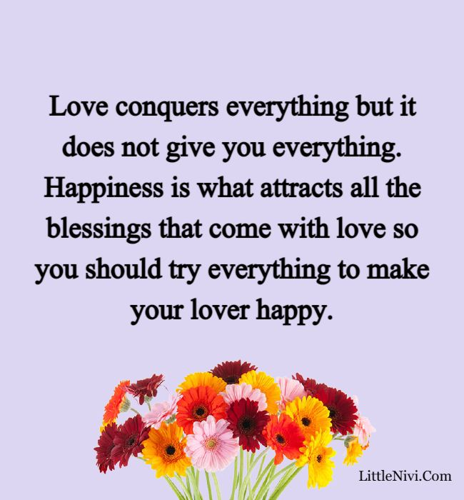love happiness quotes - Love conquers everything but it does not give you everything. Happiness is what attracts all the blessings that come with love so you should try everything to make your lover happy.